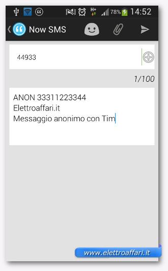 Inviare SMS anonimi con Tim
