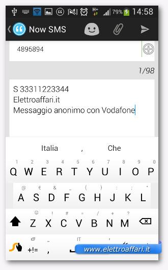 Inviare SMS anonimi con Vodafone