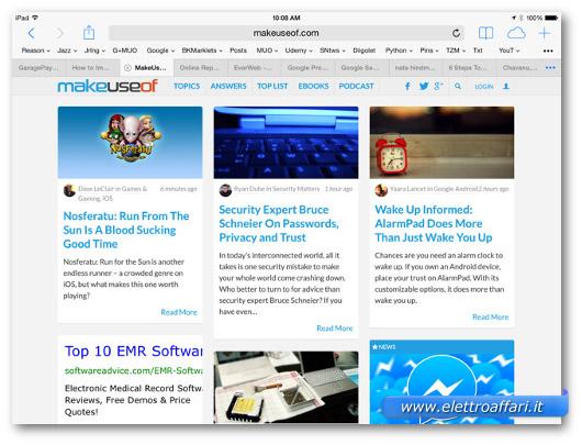 Immagine del browser Safari per iPad