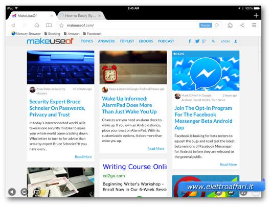 Immagine del browser Mercury Browser Pro per iPad