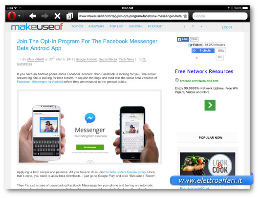 Immagine del browser Opera Mini  per iPad