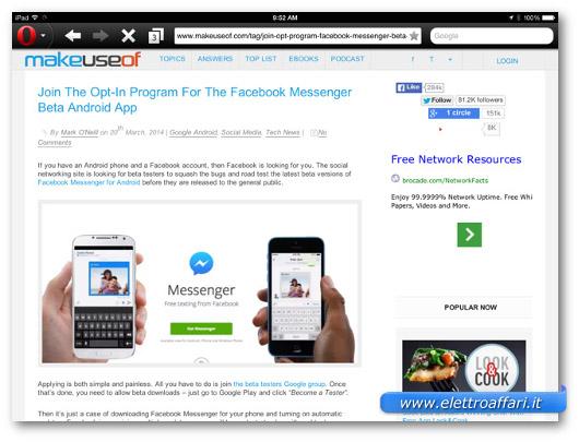 Immagine del browser Opera Mini  per iPad