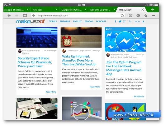 Immagine del browser Dolphin per iPad