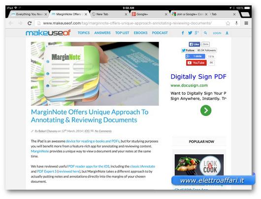 Immagine del browser Chrome per iPad