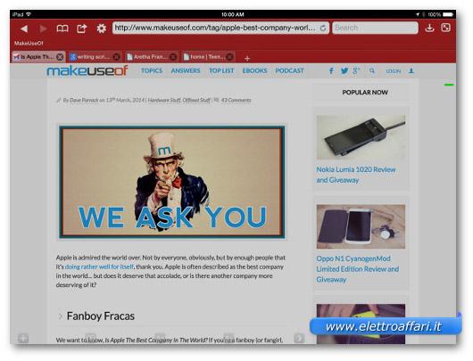 Immagine del browser Atomic Web per iPad
