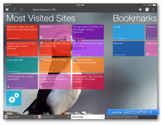 Immagine del browser Puffin per iPad