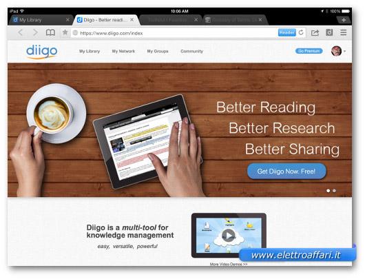 Immagine del browser Diigo per iPad