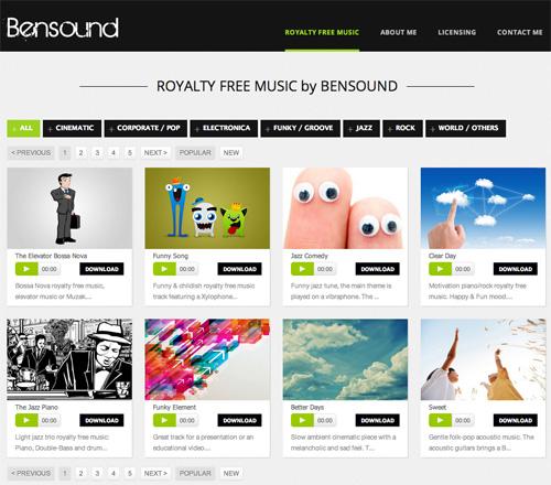 Immagine del sito Bensound