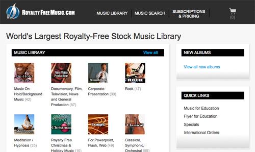 Immagine del sito Royalty Free Music