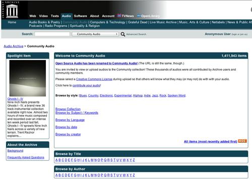 Immagine del sito Community Audio