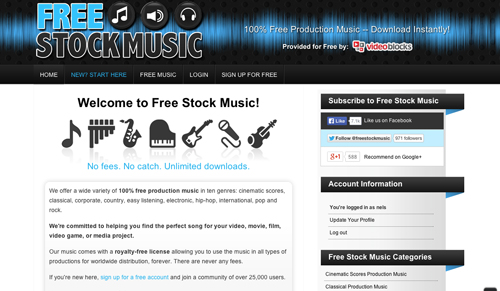 Immagine del sito Free Stock Music