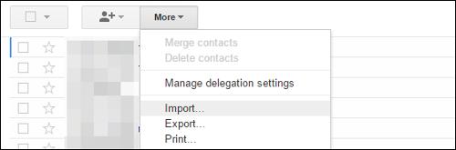 schermata d'importazione