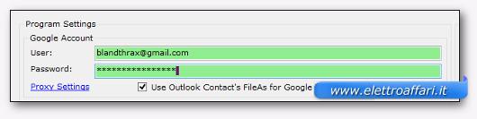 inserimento dati gmail