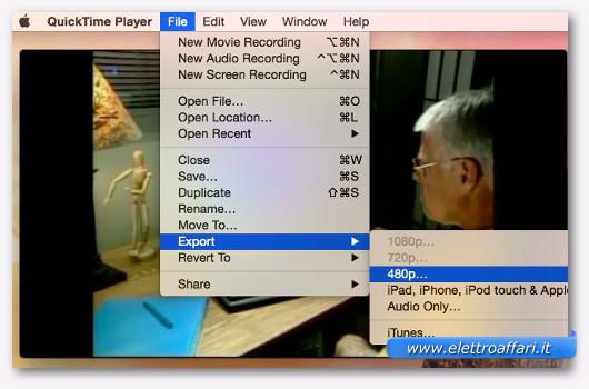 convertire video con quicktime