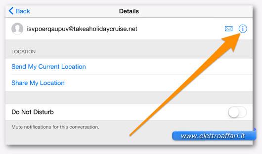 esempio di blocco sull'iPhone