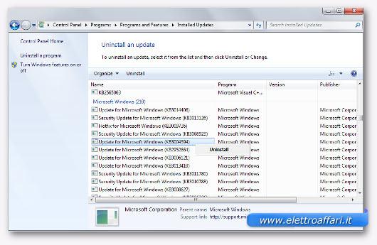 disinstallare gli aggiornamenti di windows