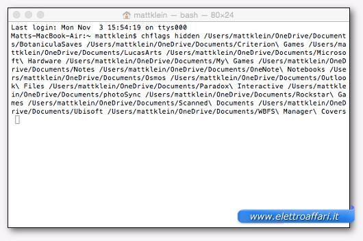 risultato del comando per nascondere un file da terminale