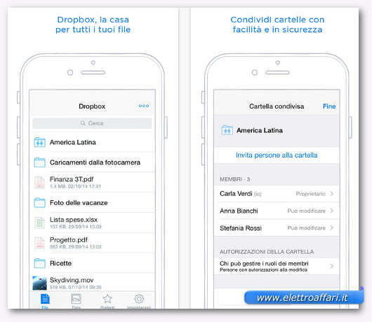 dropbox per iphone