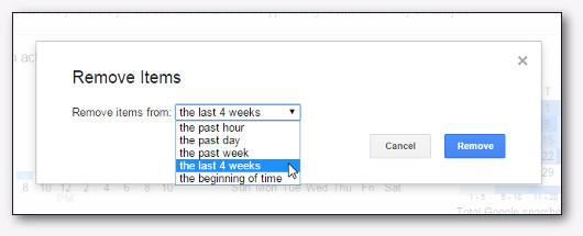 eliminare la cronologia in un range di tempo
