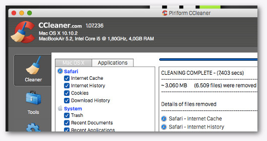 cc cleaner per liberare spazio