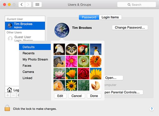 cambiare icona utente