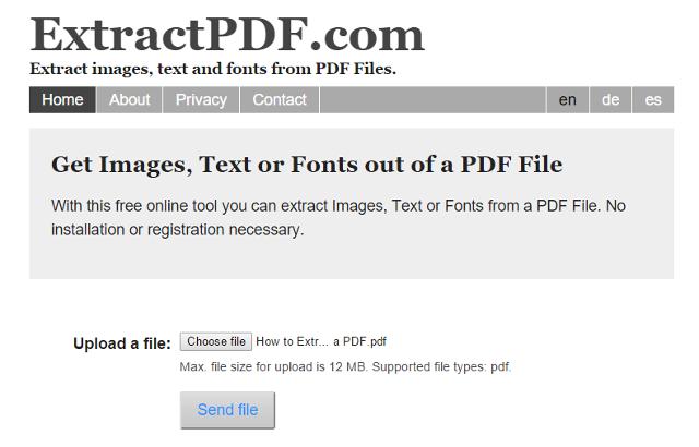 estrarre immagini pdf con applicazione web