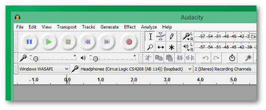 audacity per registrare l'audio dal pc