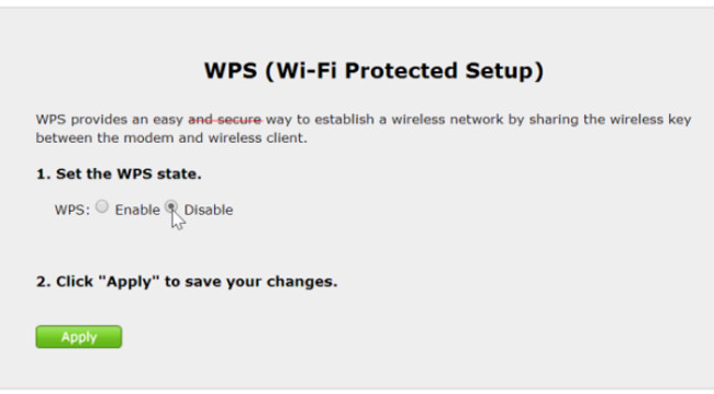disattivare il wps
