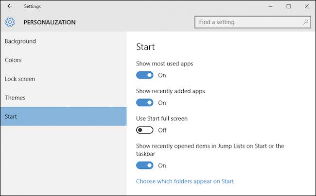 personalizzazioni del menu start