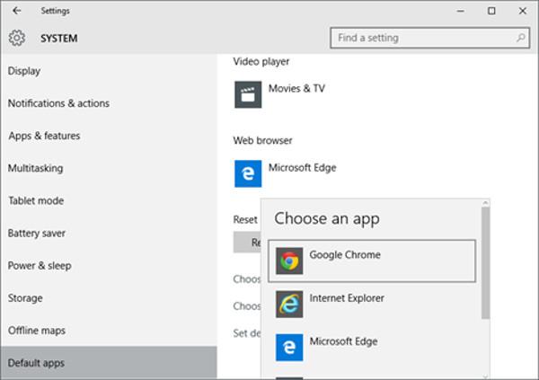 Cambiare browser di windows 10