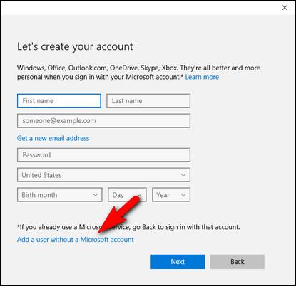 inserimento dati account