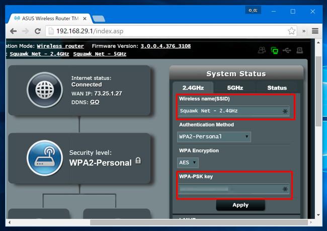 cambiare nome e password della rete wifi