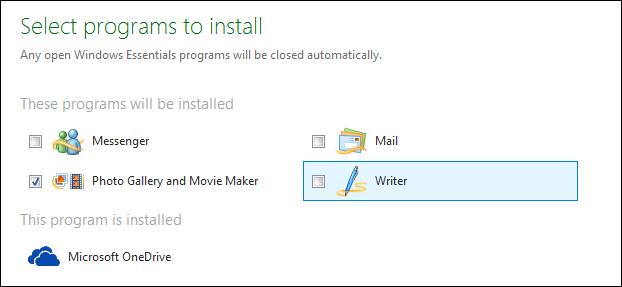 selezionare programma da installare
