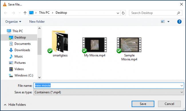 salvataggio del video convertito