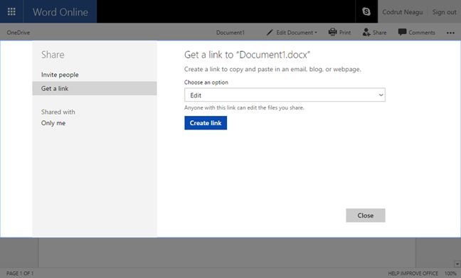 creare documenti office su onedrive