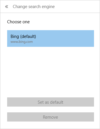 Bing come motore di ricerca pre-impostato