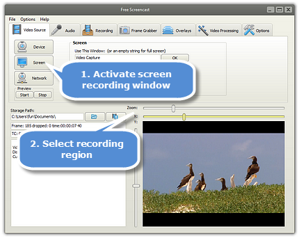 Registrare video dalla webcam con Free Screencast