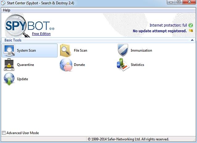 Rimuovere gli spyware con Spybot