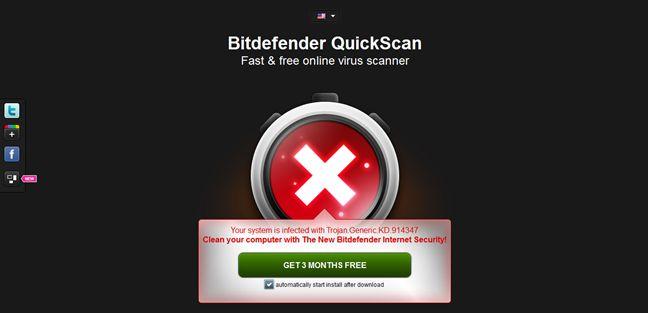Scansione antivirus online con Bitdefender QuickScan