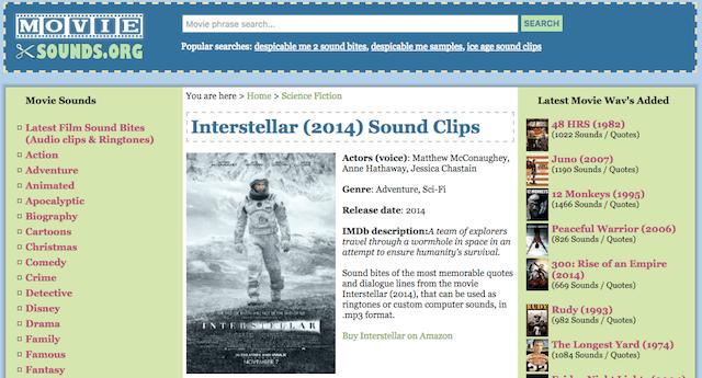 Scaricare Audio, Suoni e Rumori di Film, Giochi e Altro su Movie Sounds