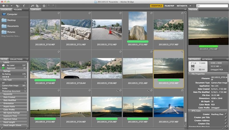 adobe bridge per le foto