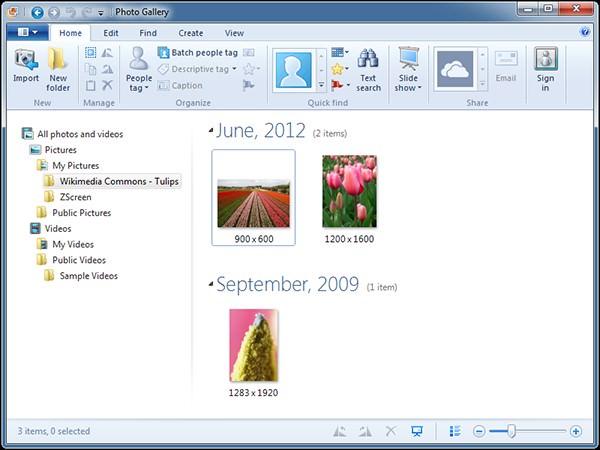 gestione foto su windows