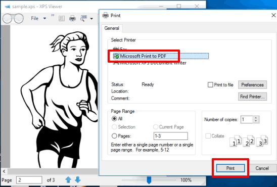 Programmi Gratis per Convertire XPS in PDF su Windows 10 - Funzionalità di stampa