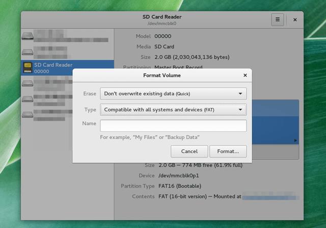 formattare sd su linux