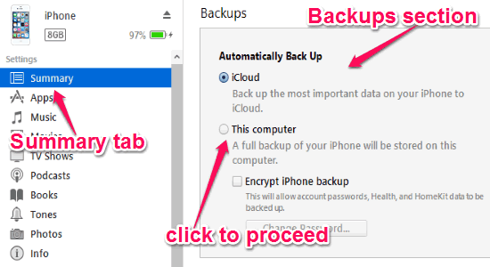 4 Software Free per il Backup dei Dati dell'iPhone sul PC - iTunes