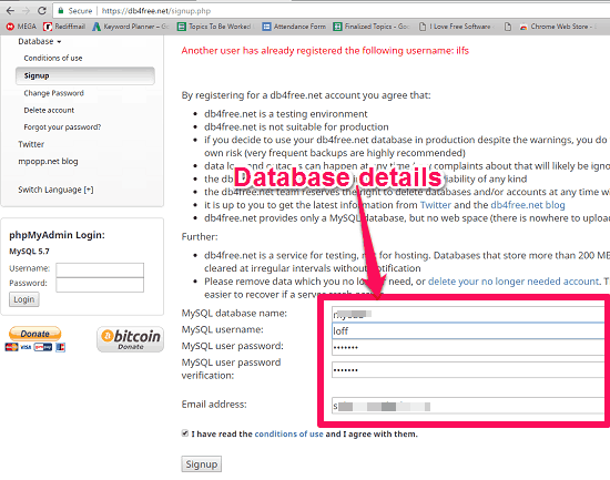 database online gratis