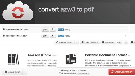 convertire file azw3 in pdf