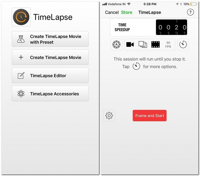 Time Lapse app per iphone
