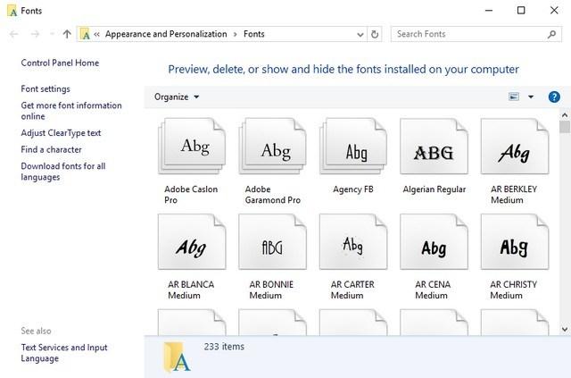 Cambiare font Windows 10