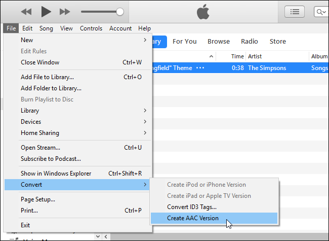 Convertire MP3 in AAC